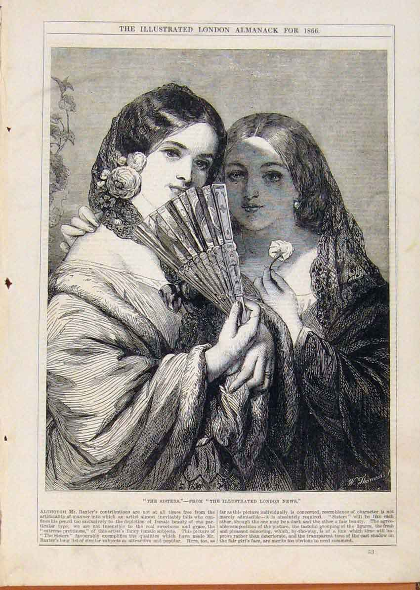 Print London Almanack The Sisters 1866 368911 Old Original