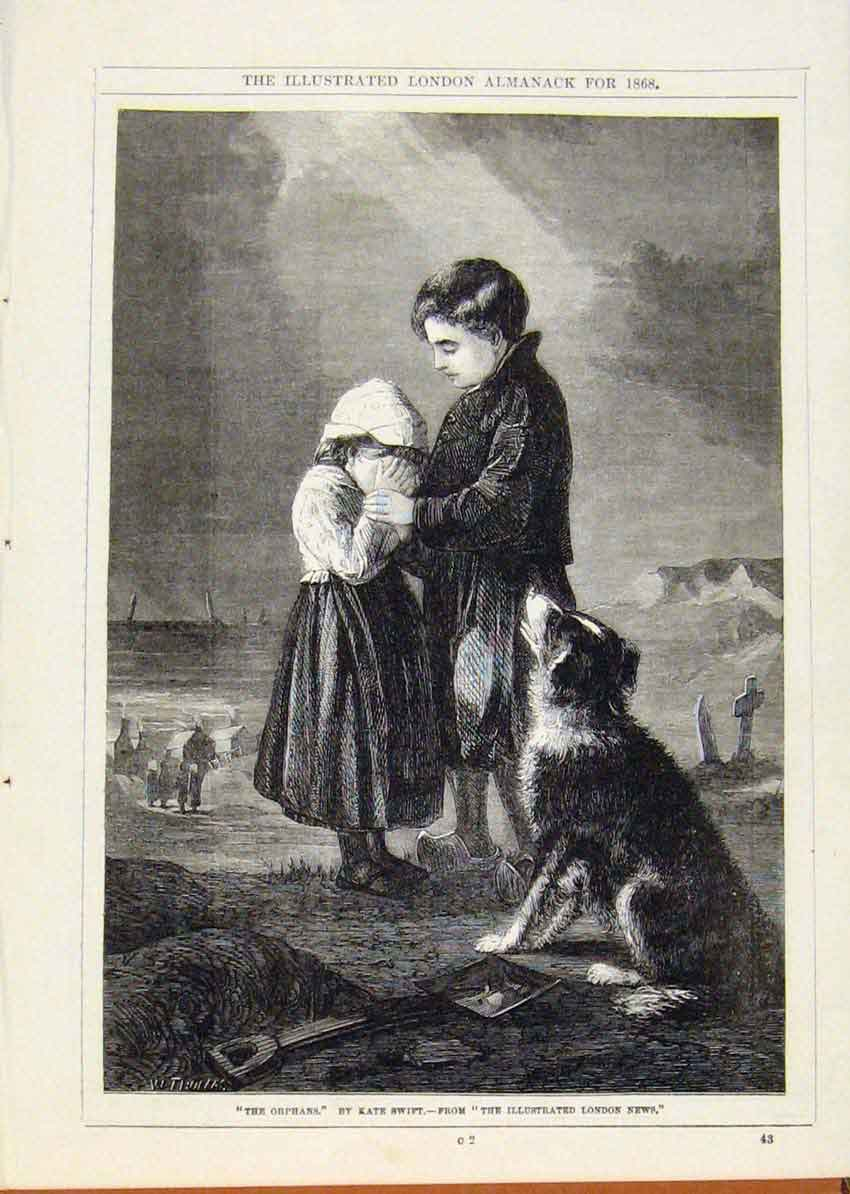 Print London Almanack Orphans Kate Swift 1868 578911 Old Original