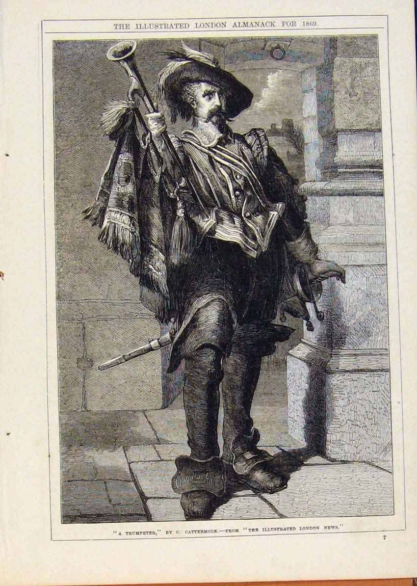 Print London Almanack Trumpeter By Cattermole 1869 628911 Old Original