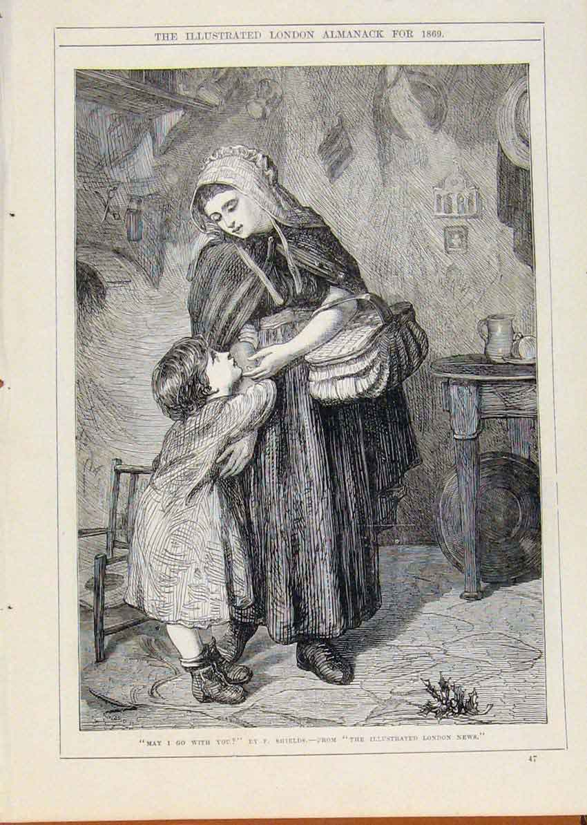 Print London Almanack May I Go With You Child Mother 1869 68A8911 Old Original