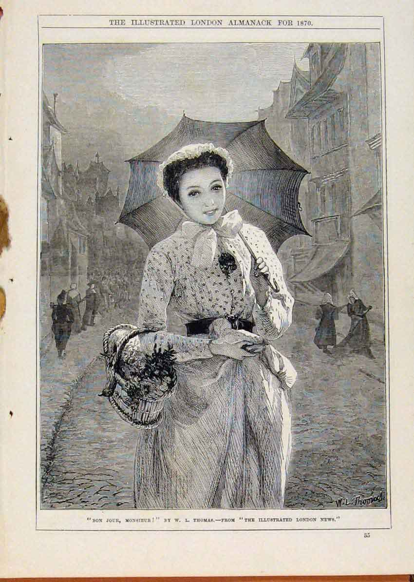 Print London Almanack Bon Jour Monsieur 1870 Portrait Lady 788911 Old Original