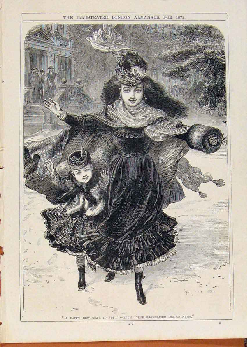 Print London Almanack Happy New Year Mother Child 1872 958911 Old Original