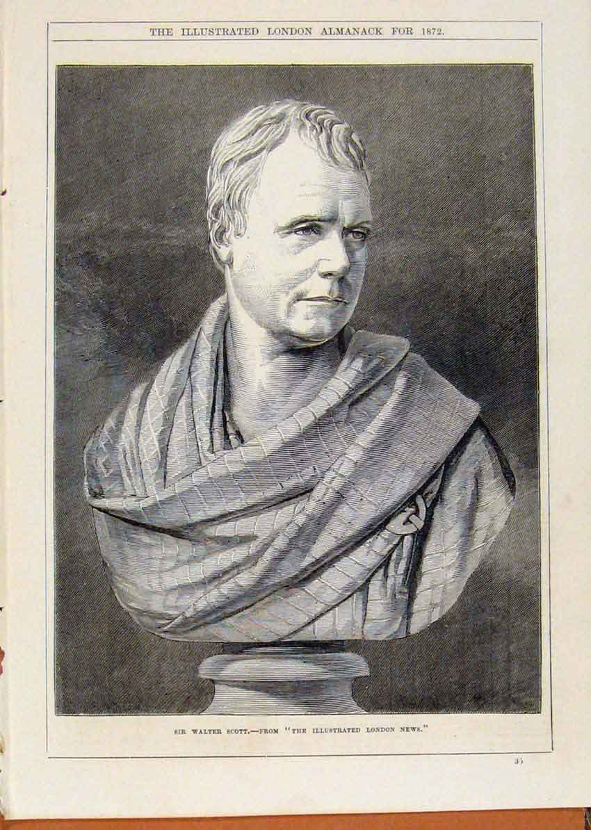 Print London Almanack Sir Walter Scott 1872 Statue Portrait 028911 Old Original