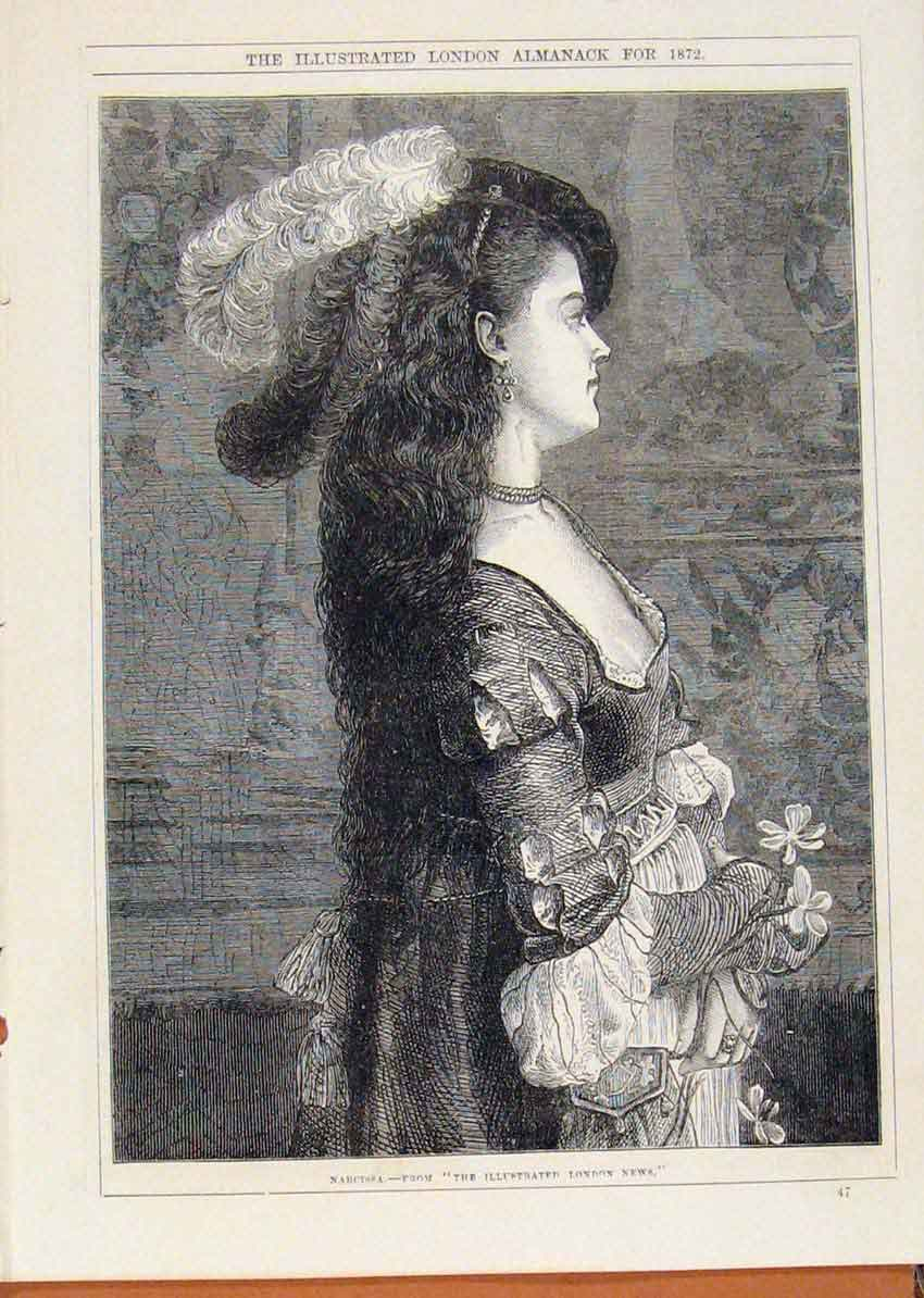 Print London Almanack Narcissa Portrait 1872 048911 Old Original