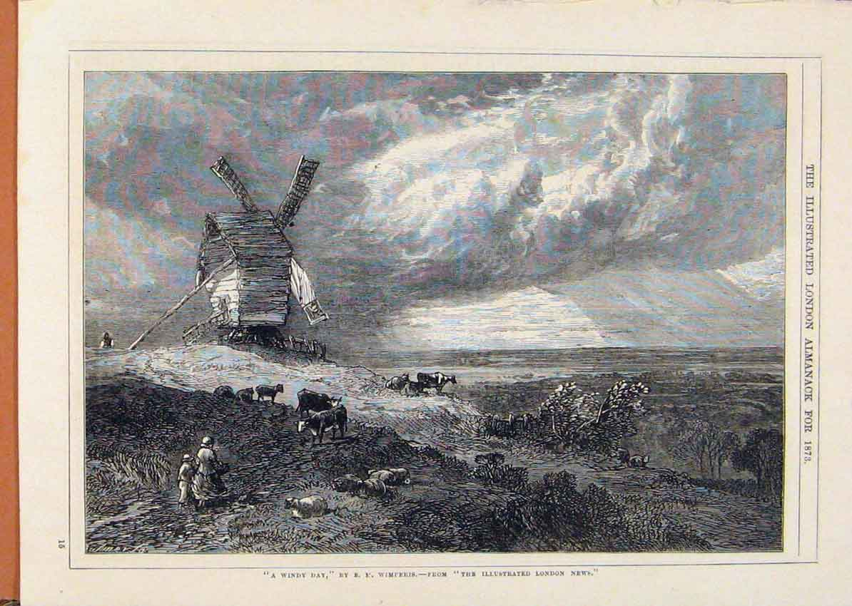 Print London Almanack Windy Day By Wimperis 1873 098911 Old Original