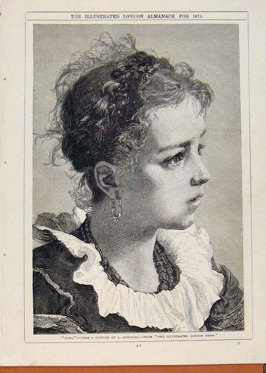 Print London Almanack Nina By Bonifazi Portrait 1875 328911 Old Original