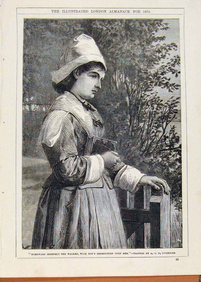 Print London Almanack Homeward Walking Lady 1875 Luxmoore 338911 Old Original