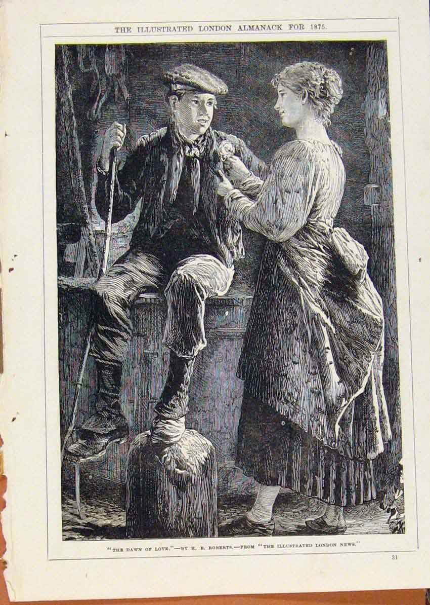 Print London Almanack Dawn Love By Robberts 1875 358911 Old Original