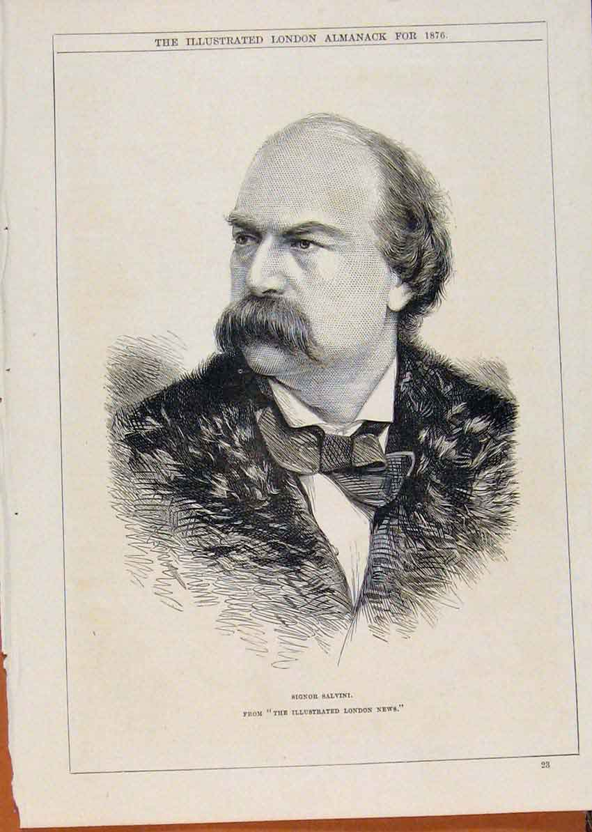 Print London Almanack Signor Salvini Portrait 1876 458911 Old Original