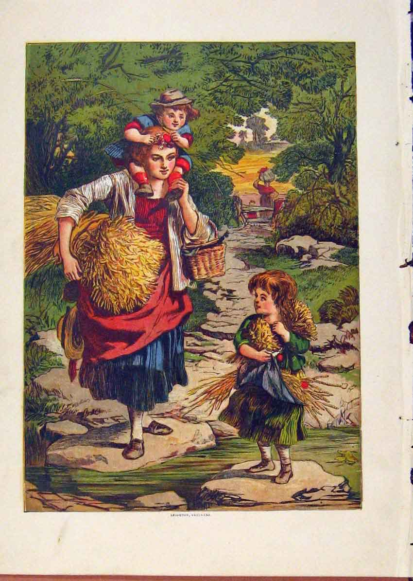 Print Illustrated London Almanack Family Carring Straw 638921 Old Original