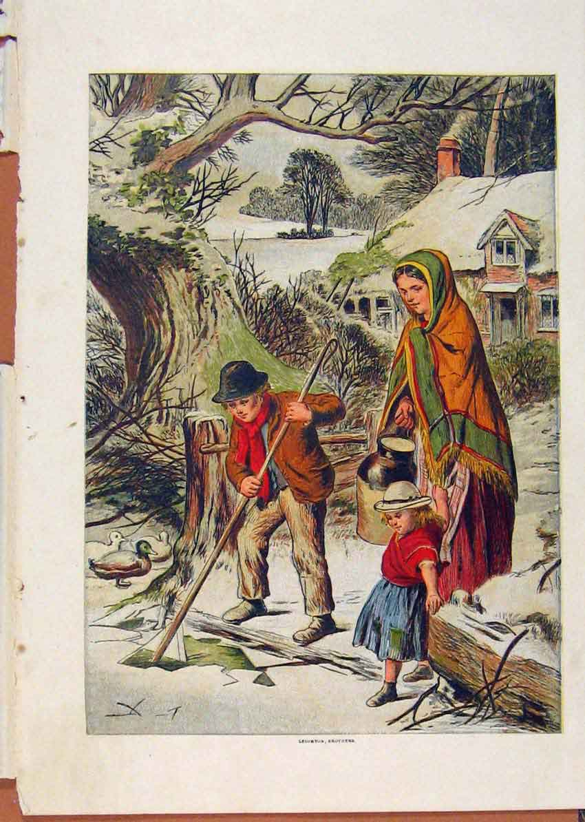 Print Illustrated London Almanack Family Clearing Snow 728921 Old Original