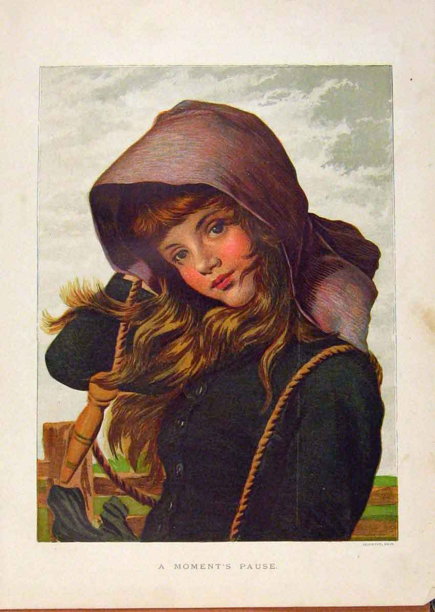 Print Illustrated London Almanack Moments Pause Young Girl 748921 Old Original