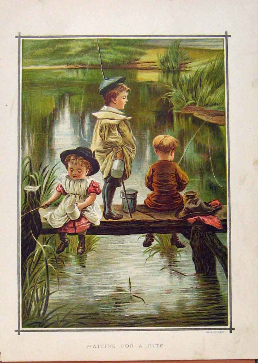 Print Illustrated London Almanack Young Boys Fishing Waiting 768921 Old Original