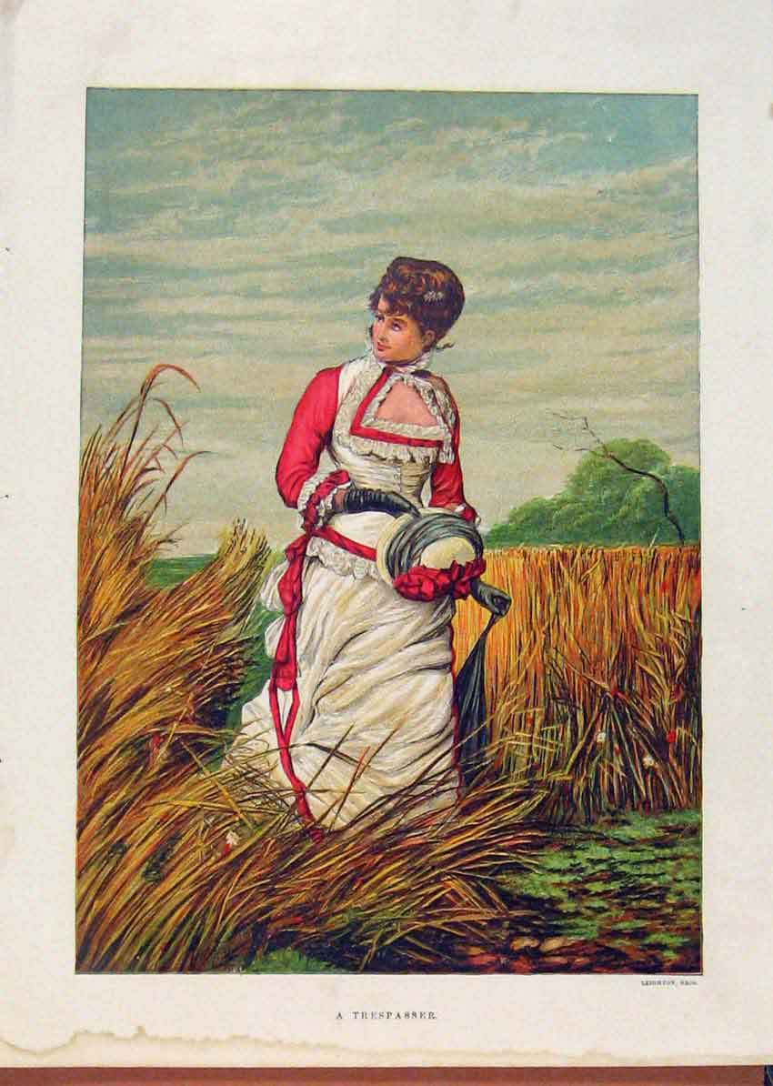 Print Illustrated London Almanack Tresspasser Lady In Field 588921 Old Original