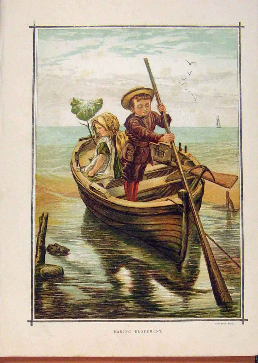 Print Illustrated London Almanack Children On A Boat 648921 Old Original