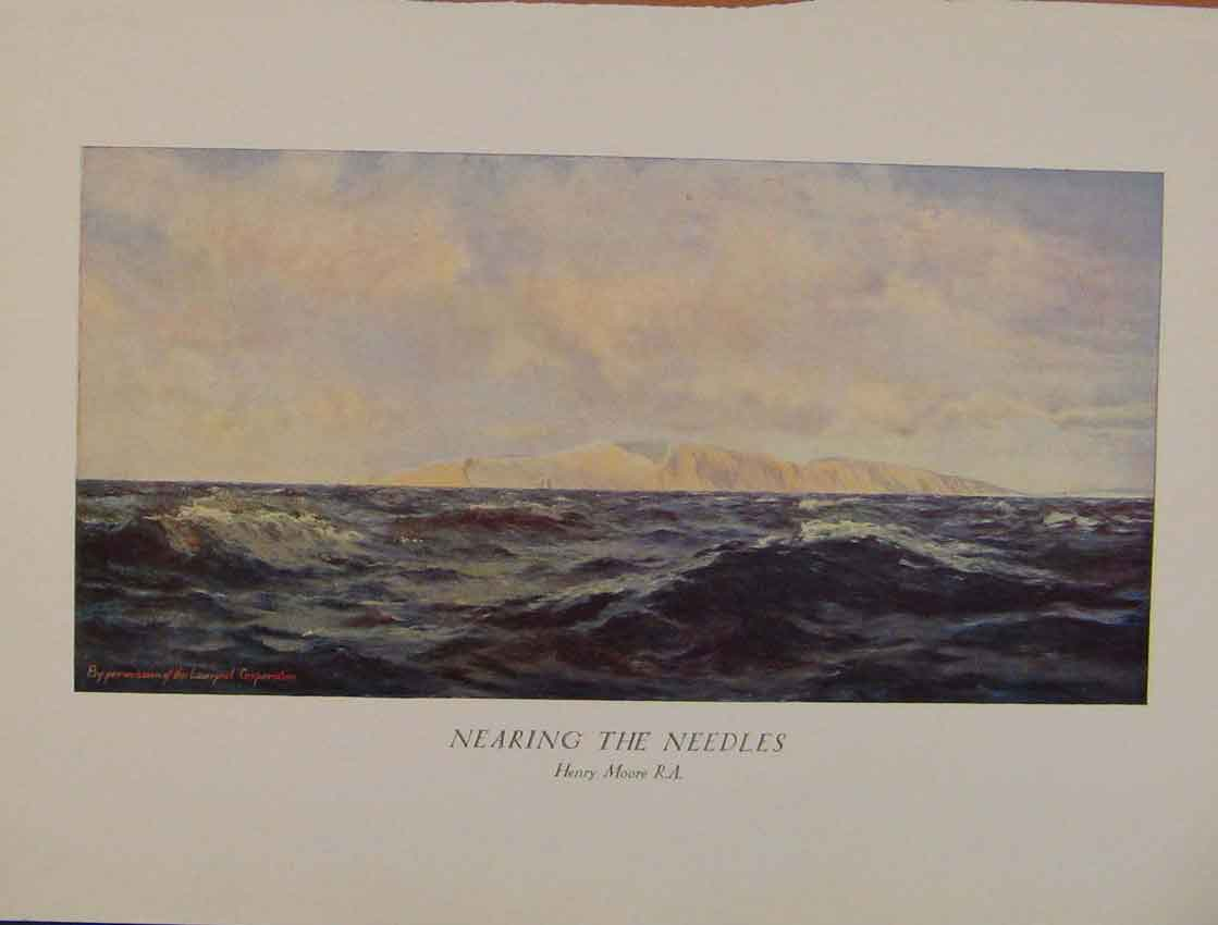 Print British Art Nearing The Needles Color Art 048931 Old Original