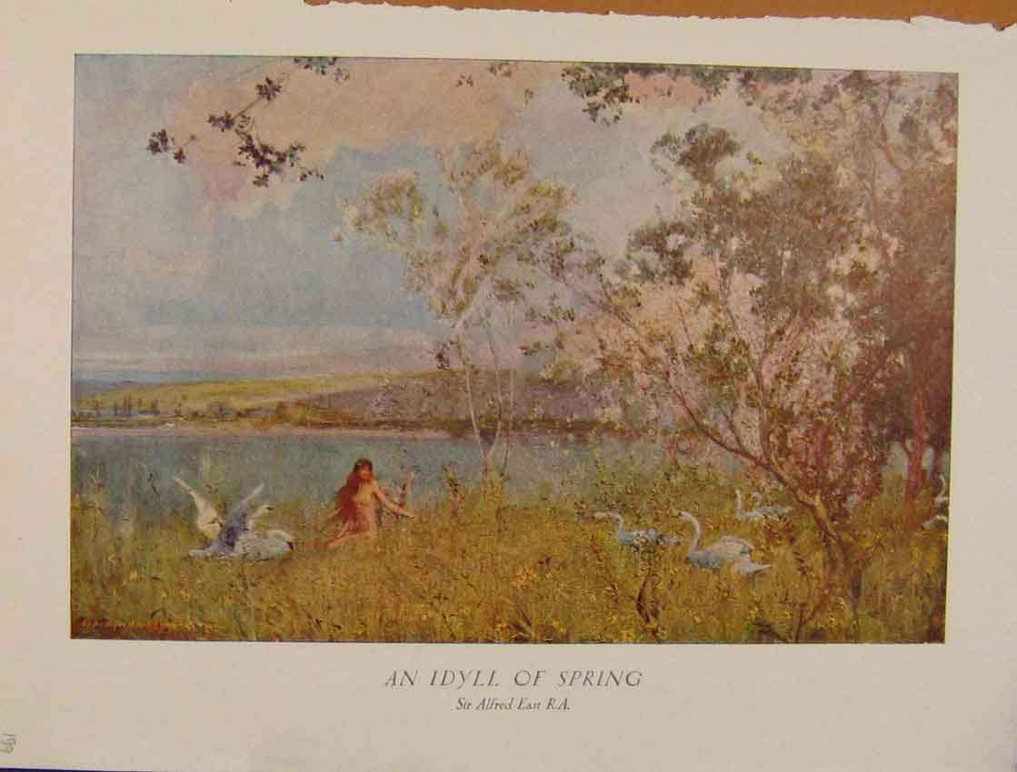 Print British Art An Idyll Spring Sir Alfred East Color 128931 Old Original