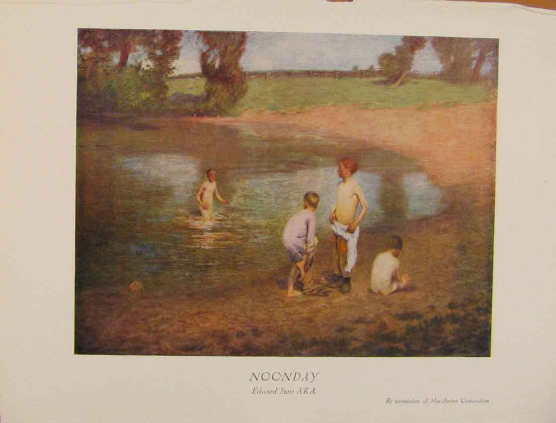 Print British Art Noonday Swimming By The Lake Color 438931 Old Original