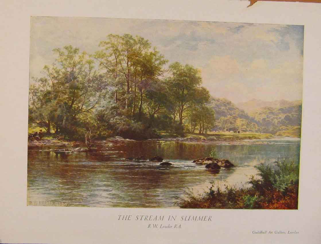 Print British Art The Stream In Summer B Leader 448931 Old Original