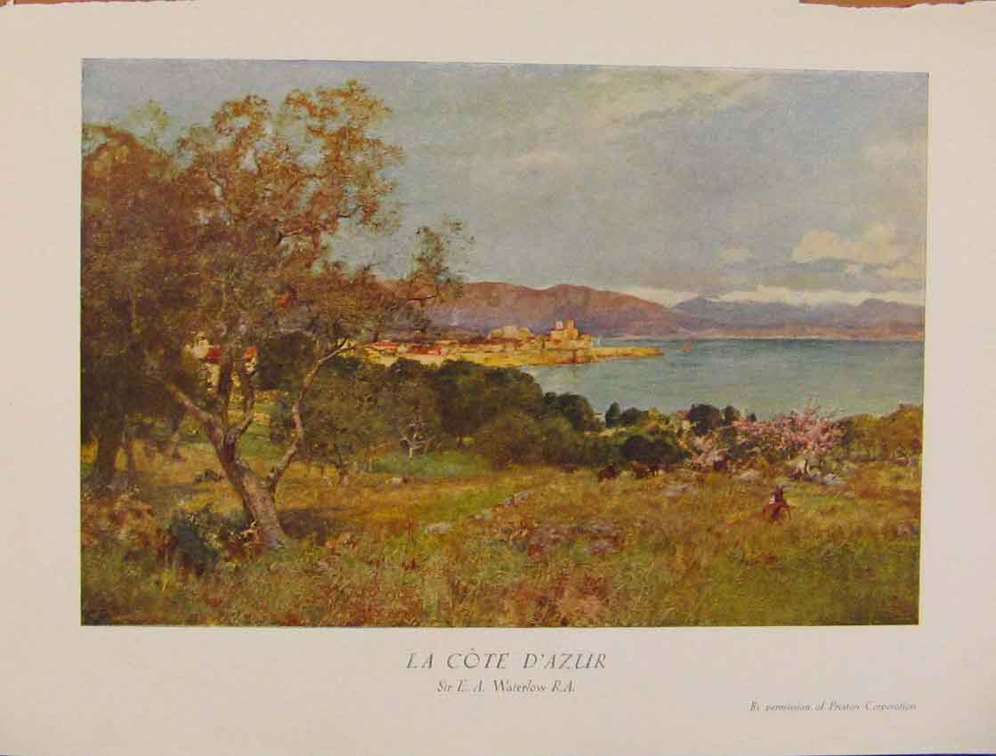 Print British Art La Cote Dazur Sir Waterlow 578931 Old Original