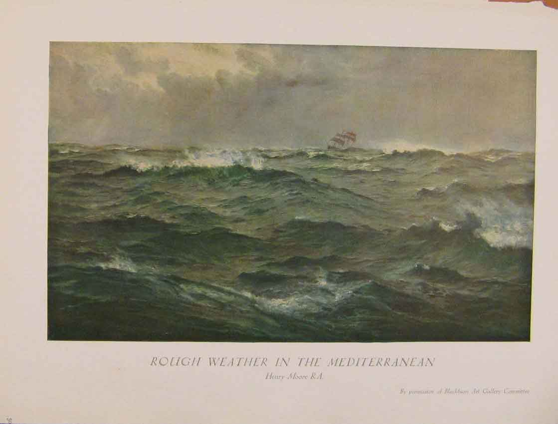 Print British Art Rough Weather In The Mediterranean 618931 Old Original