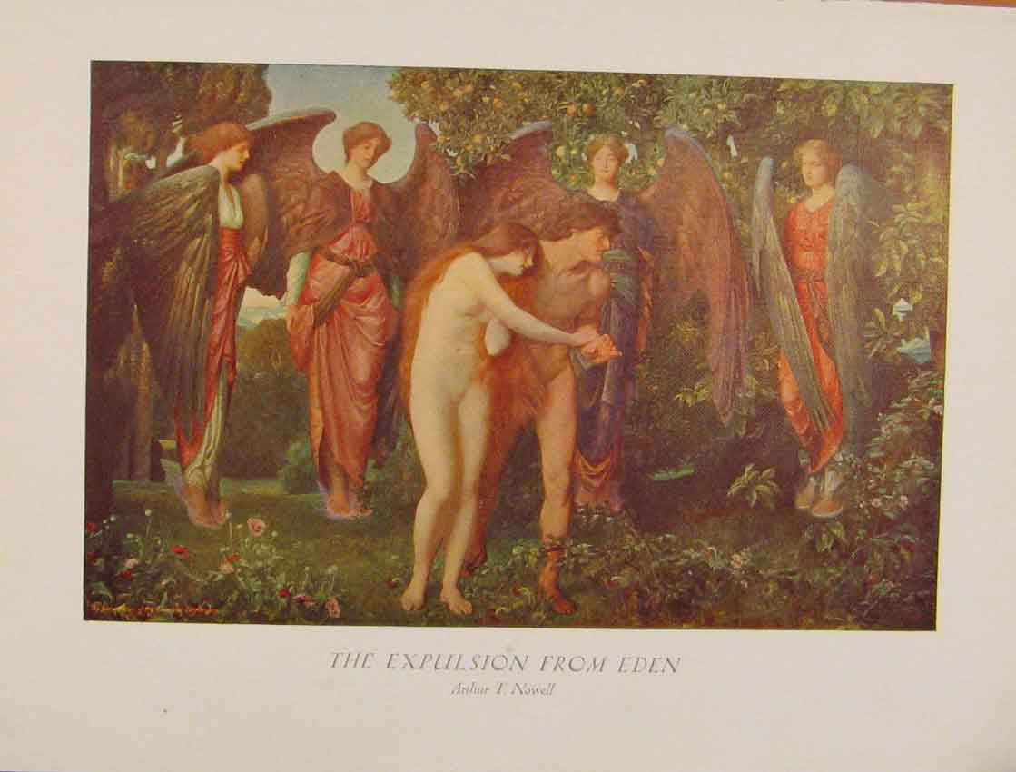 Print British Art The Expulsion From Eden Arthur Nowell 728931 Old Original