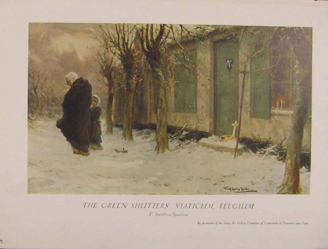Print British Art The Green Shutters Viaticum Belgium 838931 Old Original