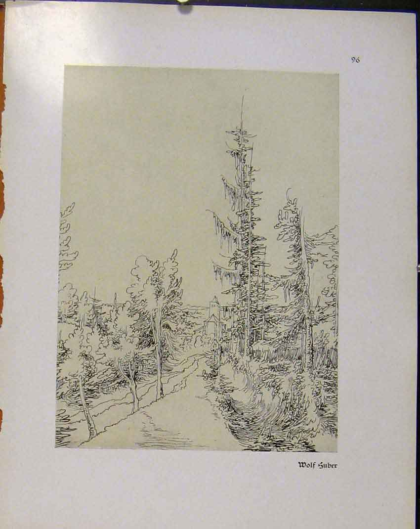 Print German Drawings Road Leading To Home House C1923 308941 Old Original