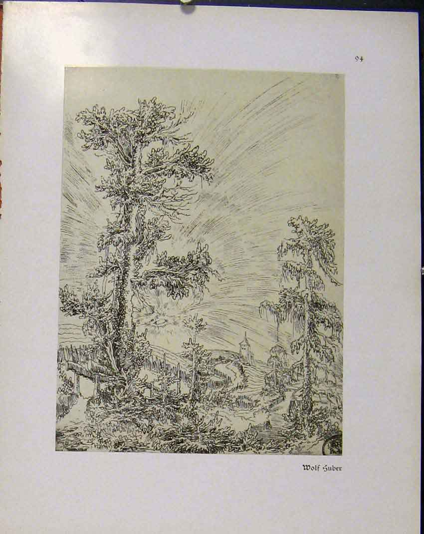 Print German Drawings Country Side C1923 328941 Old Original