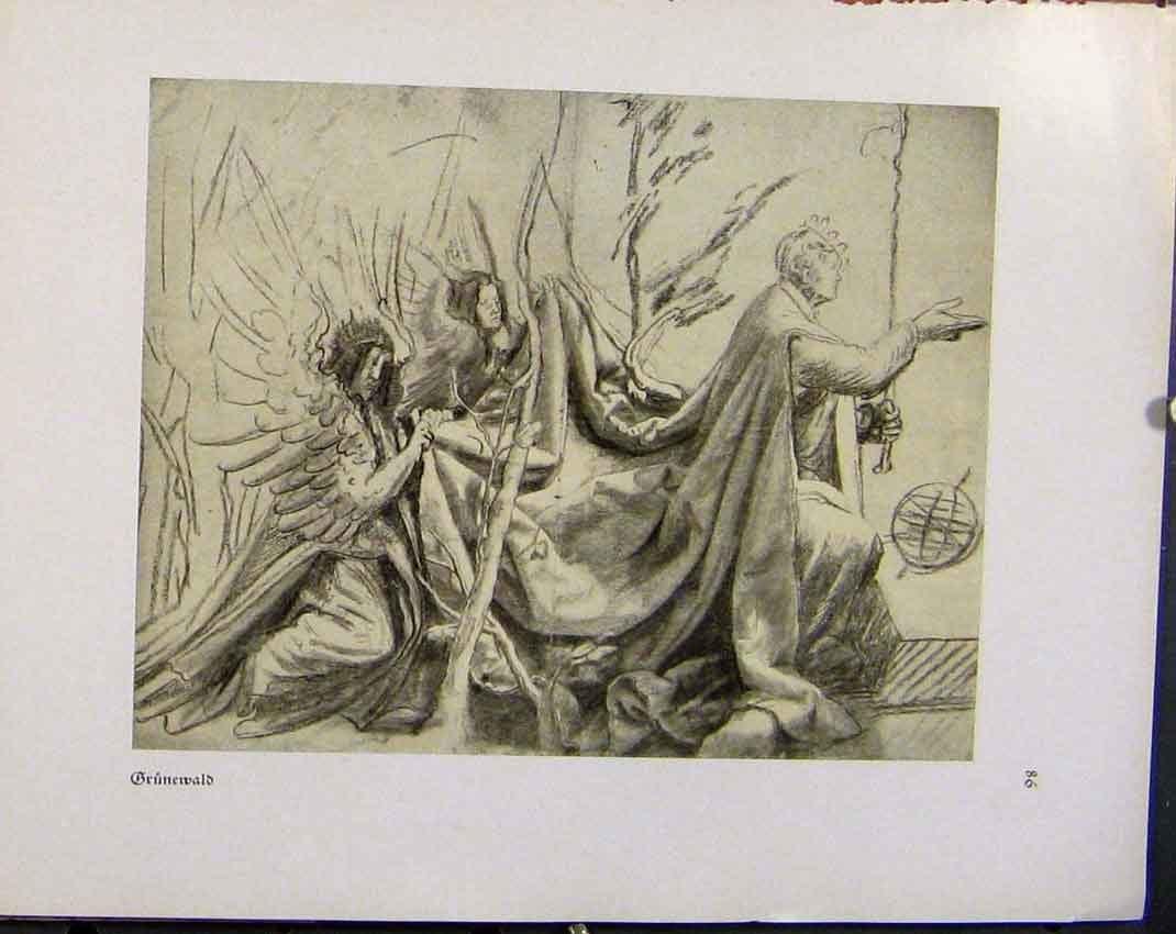 Print German Drawings Man Walking Forth With Helper Grunewald 408941 Old Original