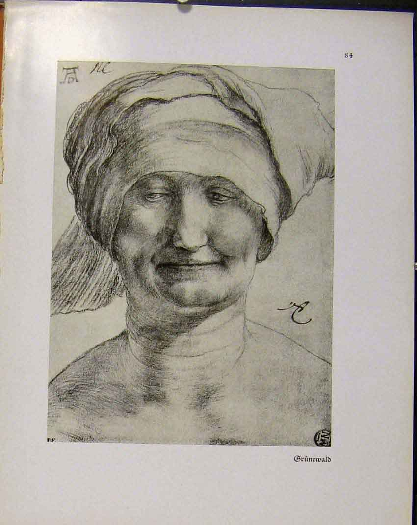 Print German Drawings Fine Art Portrait Lady Face C1923 428941 Old Original