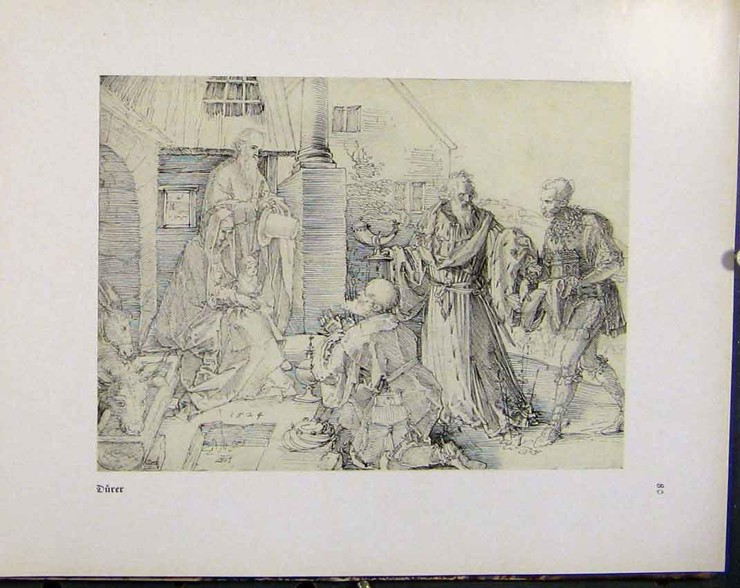 Print German Drawings Durer Family Gathering Outside House 478941 Old Original