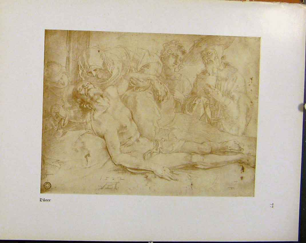 Print German Drawings Man Dieing Sick Ill Durer C1923 488941 Old Original