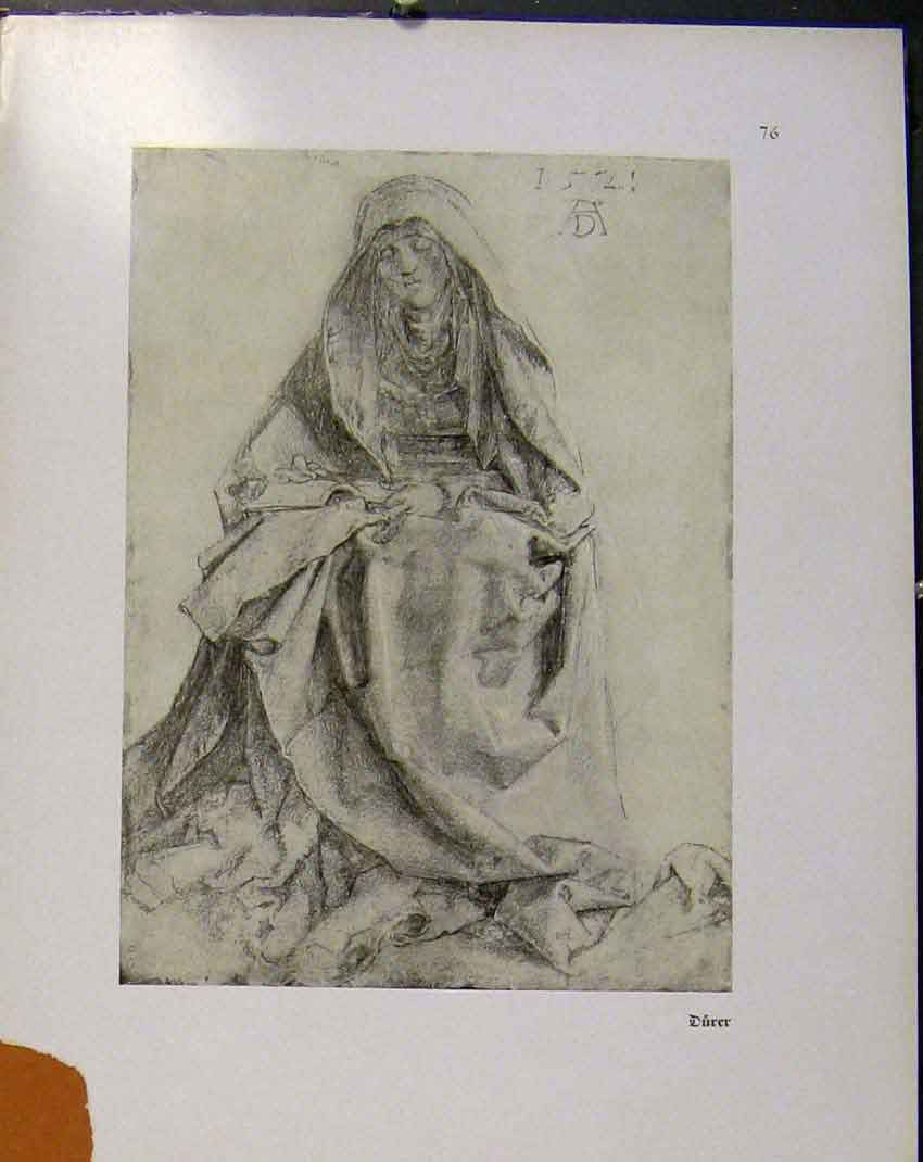 Print German Drawings Portrait Lady Durer C1923 498941 Old Original