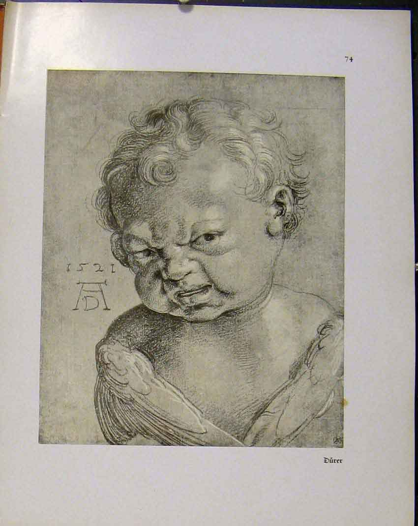 Print German Drawings Portrait Baby 1521 Ad 518941 Old Original