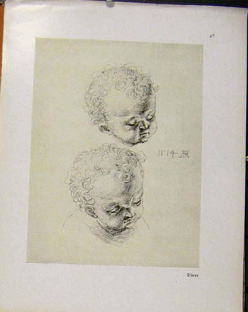 Print German Drawings Baby Face Portraits C1923 578941 Old Original