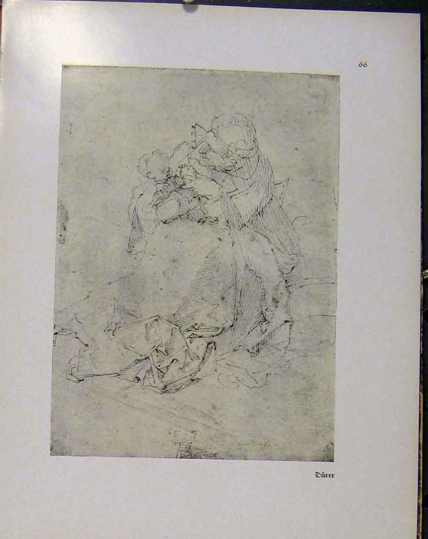 Print German Drawings Durer Man Holding Young Child Baby 588941 Old Original