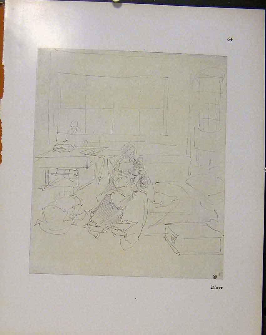 Print German Drawings Sketch Mother And Child Interior Hom 598941 Old Original