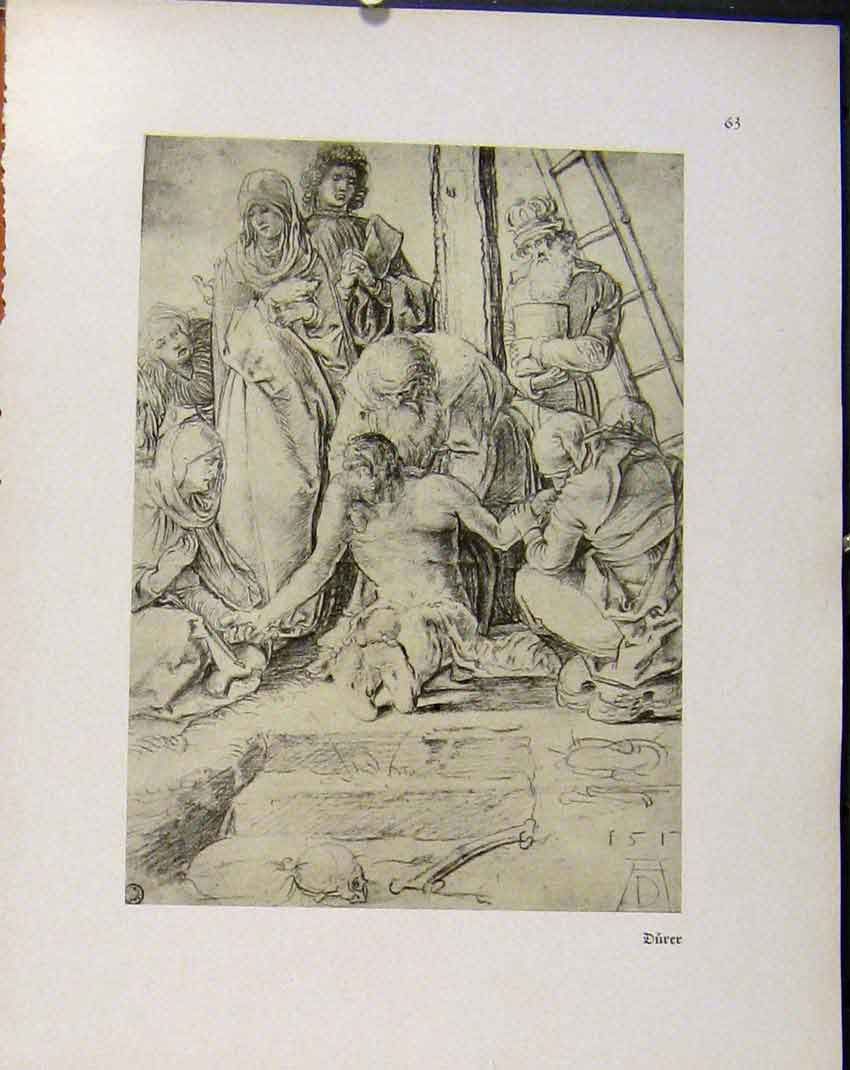 Print German Drawings Ill Man Being Healed Religious 608941 Old Original