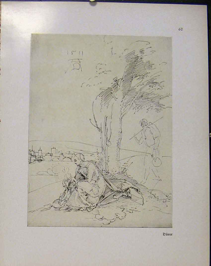 Print German Drawings Man And Woman Under Tree With Baby 618941 Old Original