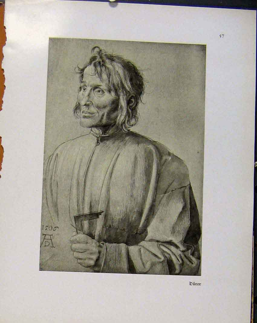 Print German Drawings Durer Sketch Portrait A Man C1923 668941 Old Original