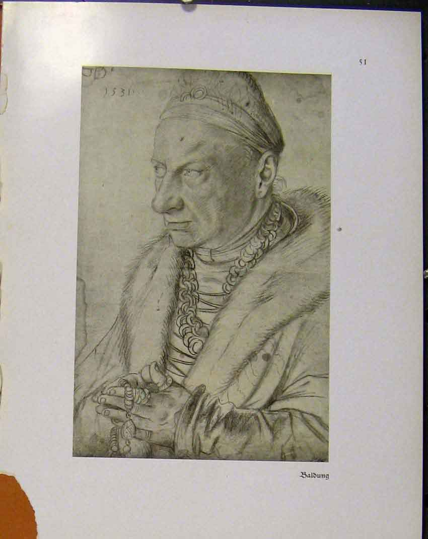 Print German Drawings Baldung Portrait Man Pope C1923 718941 Old Original