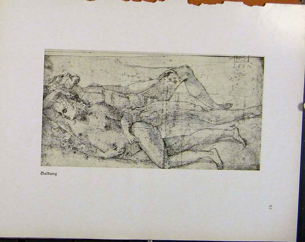 Print German Drawings Sketch By Baldung C1923 728941 Old Original