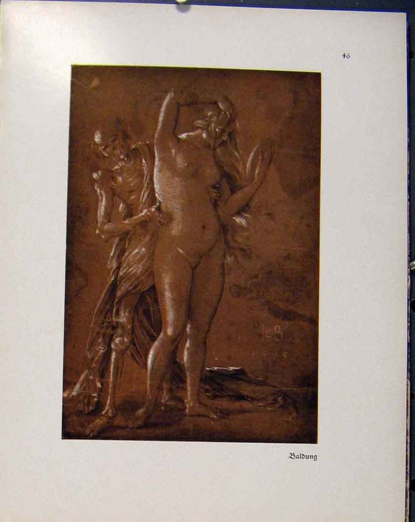 Print German Drawings Baldung Sketch Lady In Mirror 758941 Old Original