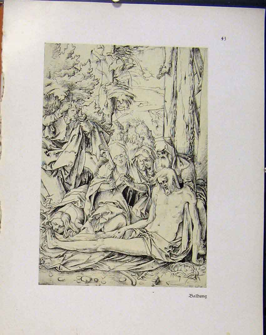Print German Drawings Forest People Sketch Baldung C1923 768941 Old Original
