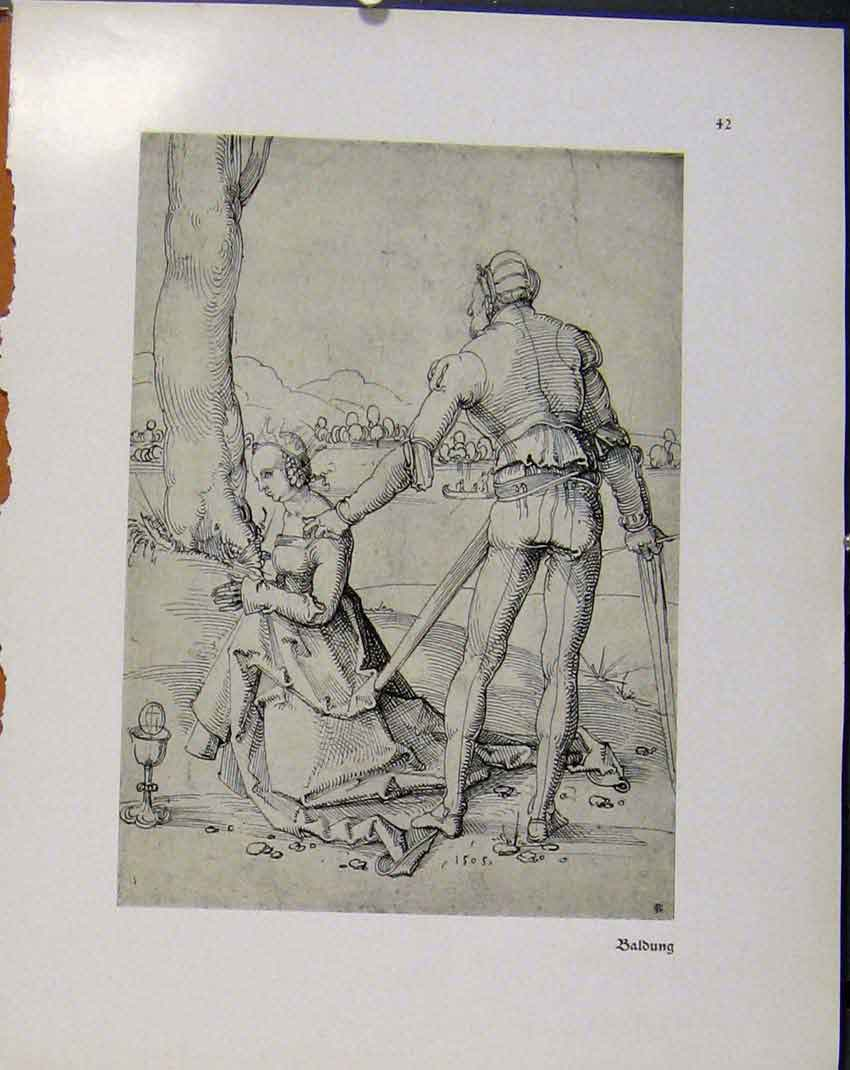 Print German Drawings Woman And Man Sketch Meeting C1923 778941 Old Original