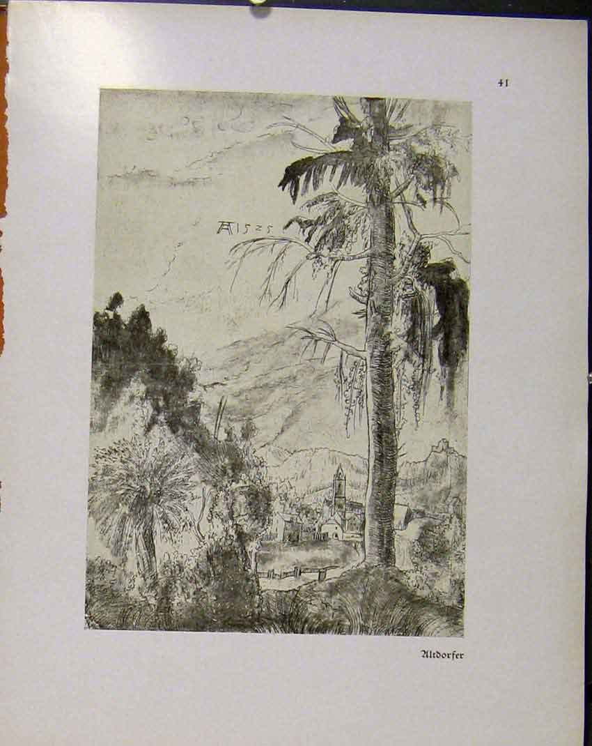 Print German Drawings Ultdorfer Village Sketch C1923 798941 Old Original