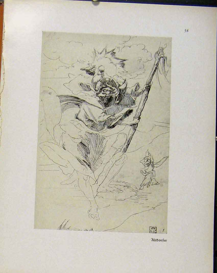 Print German Drawings Ultdorger C1923 Sketch Man 828941 Old Original