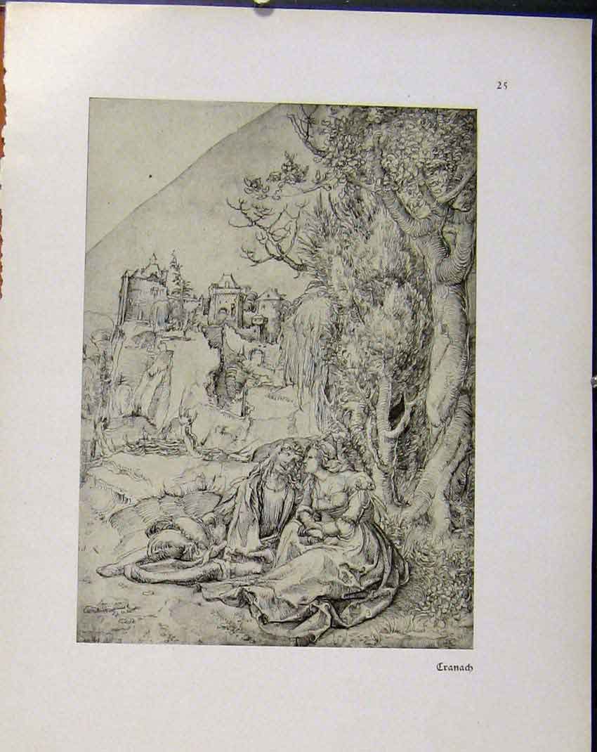 Print German Drawings Couple Sitting Outside Village 1923 948941 Old Original