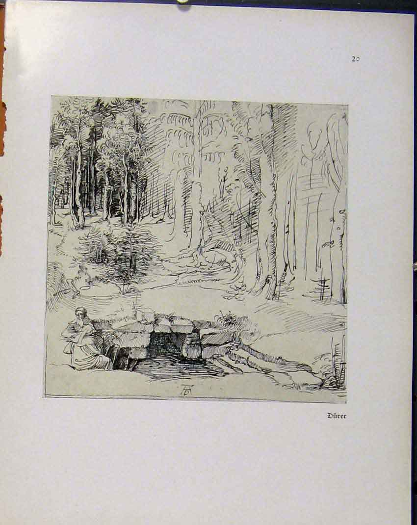 Print German Drawings Man Near Rock Cave Durer C1923 008941 Old Original